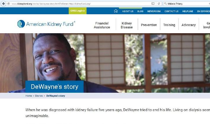 Article about kidney patient advocate DeWayne Cox by the American Kidney Fund