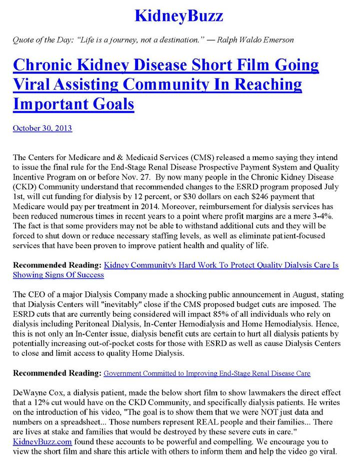 Kidney Buzz article about The Real Faces Of Dialysis